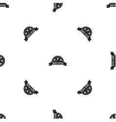 tasty pizza sign pattern seamless black vector image