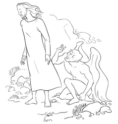 Temptation of christ in the wilderness outlined vector