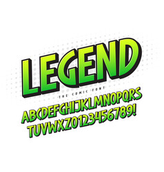 The legend 3d comical font design colorful vector