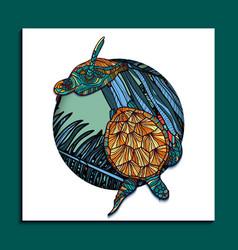 trendy tropical turteles card vector image