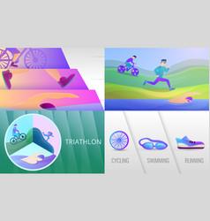 Triathlon banner set cartoon style vector