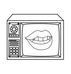 Tv nineties retro with lips sexy line style icon vector