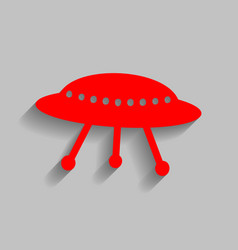 Ufo simple sign red icon with soft shadow vector