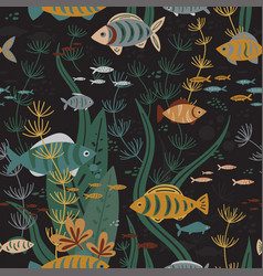 underwater fishes life seamless pattern vector image