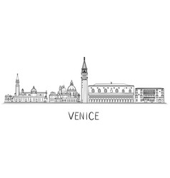 Venice architecture skyline black and white vector