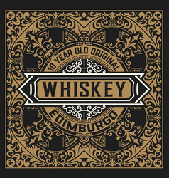 Vintage label design for whiskey vector