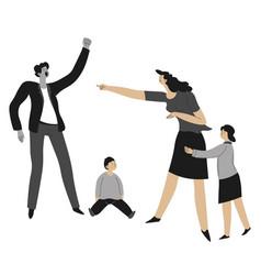 Violence at home quarreling parents and kids vector