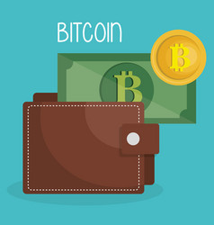 wallet with bitcoins money vector image