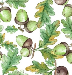 Watercolor seamless pattern with acorns vector