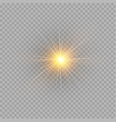 yellow glowing light burst explosion on vector image