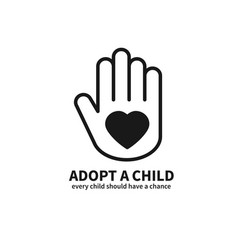 adopt a child hand with heart line icon vector image
