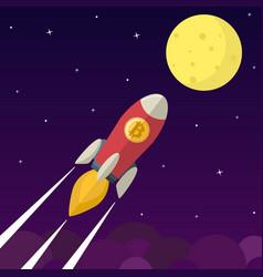 bitcoin icon rocket vector image vector image