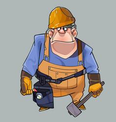 cartoon big man in helmet and working clothes vector image