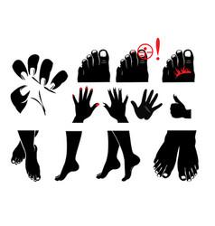 hands feet nails nail fungus itching and vector image
