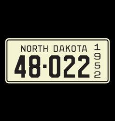 North Dakota 1952 license plate vector image