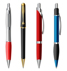 Realistic ballpoint pen set vector image vector image
