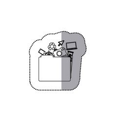 sticker monochrome contour of folder with personal vector image