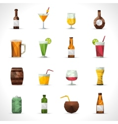 Alcohol drinks polygonal icons vector