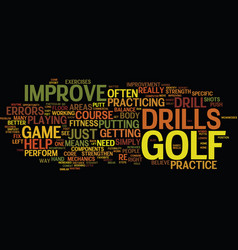golf drills to improve your game text background vector image vector image