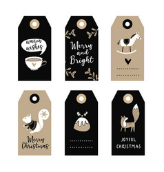 set of cute christmas gift tags labels with vector image