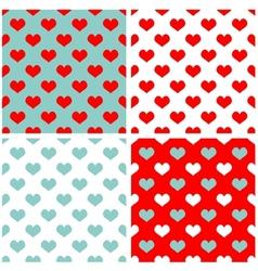 Tile pastel hearts background wallpaper set vector image