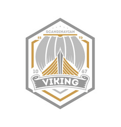viking warrior isolated label with sailboat vector image