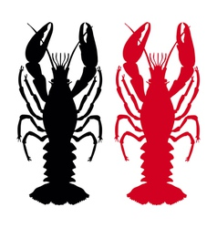 crawfish silhouette vector image vector image