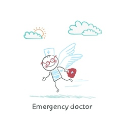 Emergency doctor is flying with wings vector image
