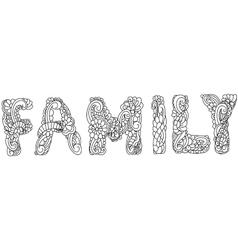 Family inscription coloring vector