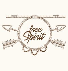 free spirit arrows rustic emblem boho vector image vector image