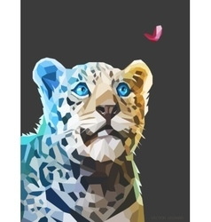 Low poly portrait of a leopard eps 10 vector image vector image