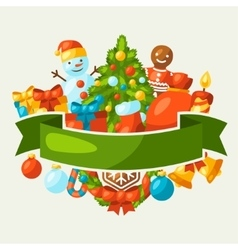 Merry Christmas holiday greeting card with vector image vector image