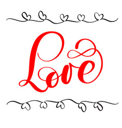 red calligraphy lettering word love happy vector image