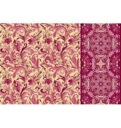 Set of seamless floral pattern and border for vector image