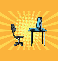 computer workstation and chair vector image