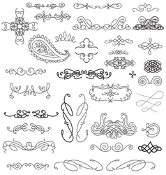 hand sketched vintage decorations vector image