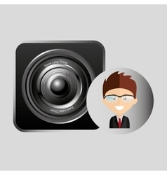 happy businessman speaker network media icon vector image