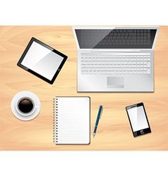 office desk laptop background vector image