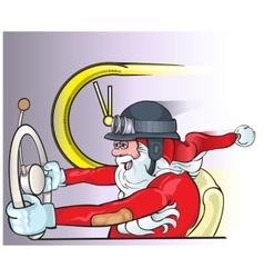 Santa claus driving an old car christmas greeting vector