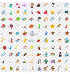 100 autumn icons set isometric 3d style vector
