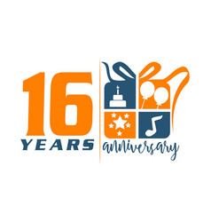 16 year gift box ribbon anniversary vector
