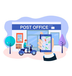 a postal employee on a motorbike delivers parcels vector image