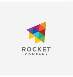 abstract colorful triangle rocket logo icon vector image