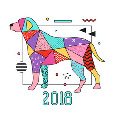 Abstract memphis placard dog for 2018 new year vector