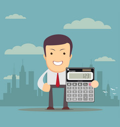 accountant is showing an electronic calculator vector image