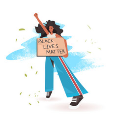 African american woman holding black lives matter vector