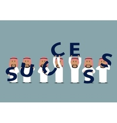 Arab businessmen composing word success vector