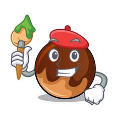 artist chocolate donut character cartoon vector image