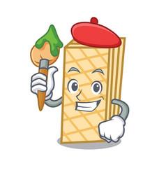 artist waffle character cartoon style vector image
