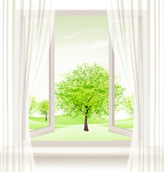 Background with an open window and green trees vector image
